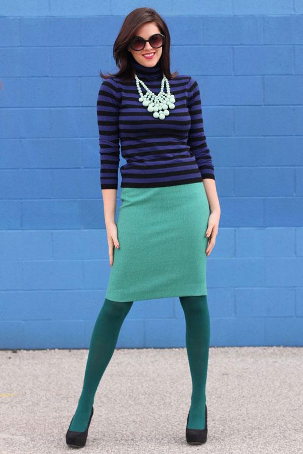 ست کردن لباس سرمه ای با سبز